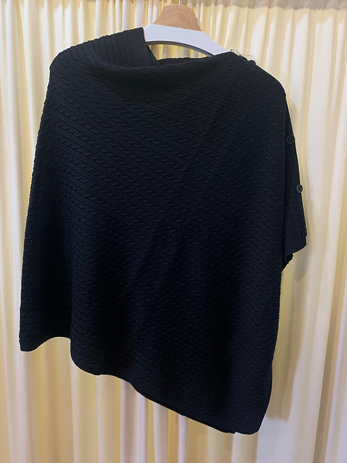 Black Cotton Cable Knit Coverup with Button Detail