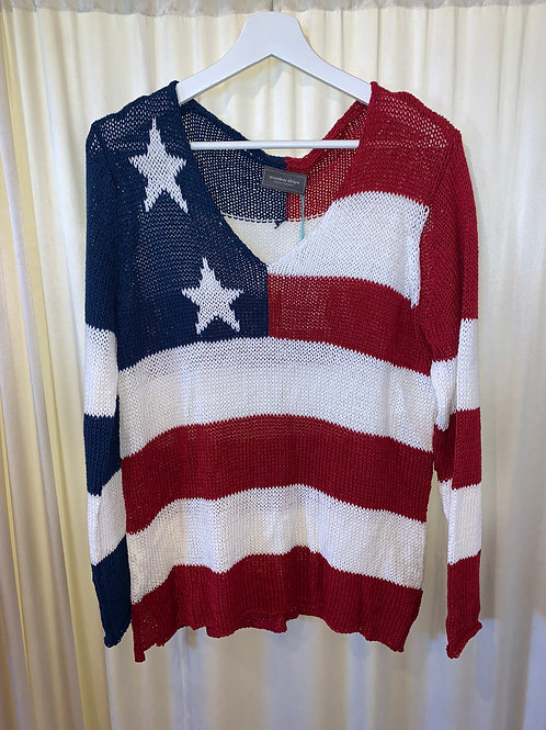 Wooden Ships  Red- White- Blue Flag Sweater