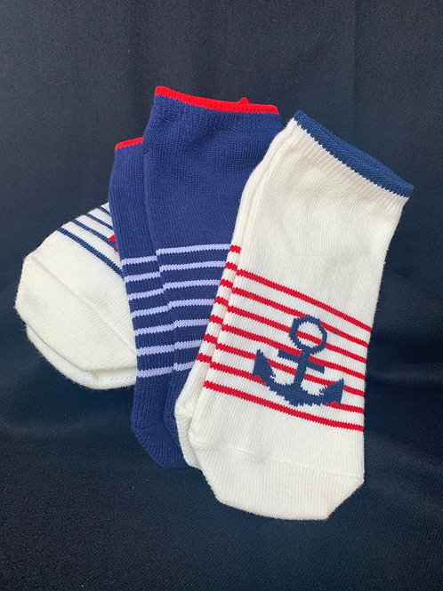 Anchor and Stripes Ankle Socks