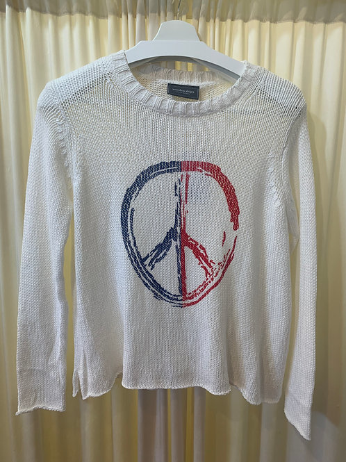Peace Sign Wooden Ships Cotton Knit Sweater