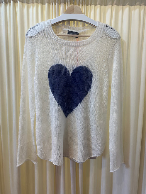 White with Navy Heart Wooden Ships Sweater