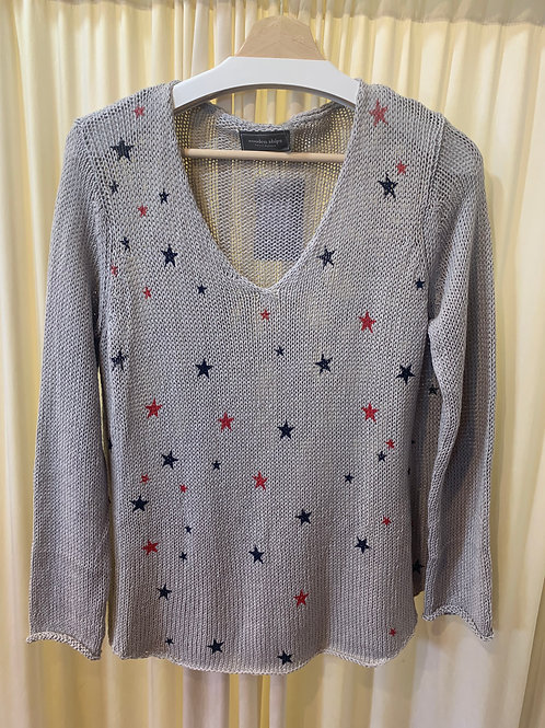 Grey Mini Stars Wooden Ships Cotton Knit Sweater