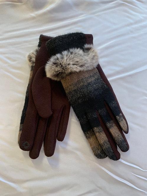 Black/ Brown Fur Trimmed Gloves