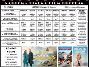 Narooma Kinema program Jan 14th to 20th