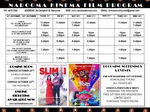 Narooma Kinema program 8th to 14th Oct