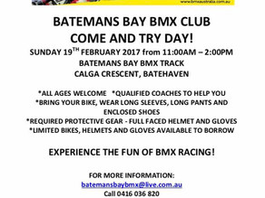 Batemans Bay BMX Club Come and Try Day  Sunday 19th Feb 11am to 2pm