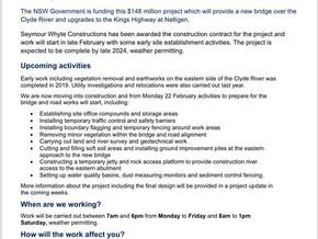 Changed traffic conditions at new Nelligen Bridge site