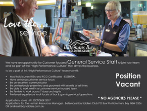 Position Vacant - General Service Staff - Closes Oct 6th