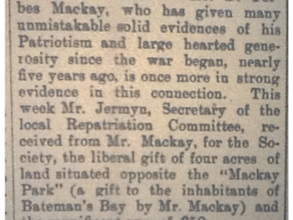 Mackay Park Land gifted to the community 100 years ago : History reveals