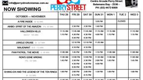 Perry Street Cinema program Oct 28th to Nov 3rd