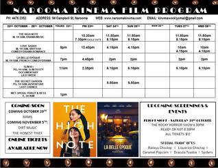 Narooma Kinema program Oct 22nd to 28th