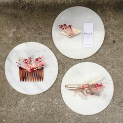 Trio fleuri // peigne - pince - broche