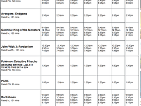 Perry Street Cinemas program May 30th to Jun 5th
