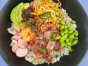 Kelly Eastwood's fresh and yummy Albacore Tuna Poke Bowl