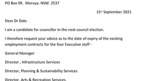 Letter to the Editor - Council executive contract term