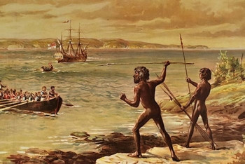 Photo: Cooman and another Gweagal warriors confronting Lt James Cook. (William MacLeod 1899)