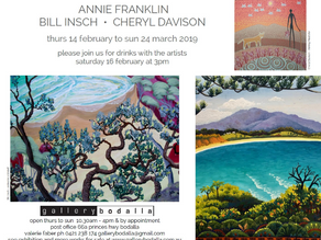 Annie Franklin, Bill Insch, Cheryl Davison at Gallery Bodalla