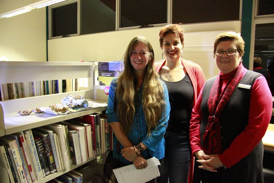 Art of the Library 2017 winner Keedah Throssell, Council's arts and culture coordinator Indi Carmichael, and libraries and culture manager Linda Heald.