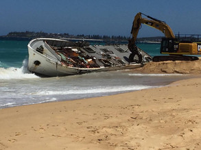 Salvage operation of Salvatore V complete at Bermagui