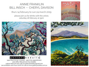 Annie Franklin, Cheryl Davison, Bill Insch at Gallery Bodalla: Feb 14th to Mar 24th