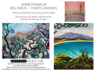 Annie Franklin, Cheryl Davison, Bill Insch at Gallery Bodalla: Feb 14th to Mar 24th