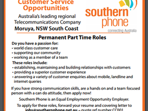 Positions Vacant: Southern Phone - Permanent Part Time - Closes Nov 8th