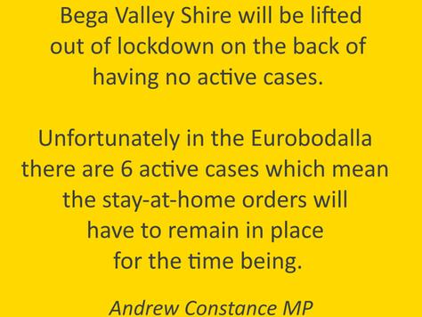 COVID UPDATE: Bega Valley & Eurobodalla Shires