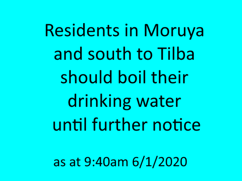 BOIL WATER NOTICE - Moruya to the South