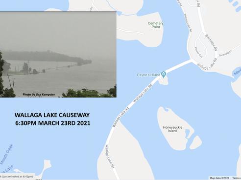 Wallaga Lake Causeway under water