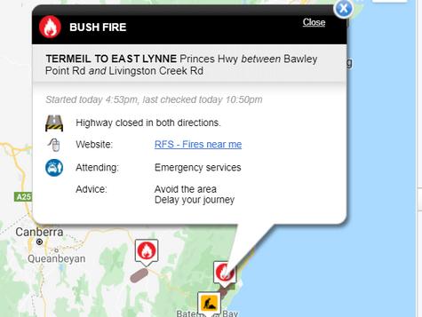 Highway Closed TERMEIL TO EAST LYNNE