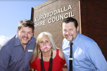 Tache for the cash: Mo-Bros Nathan Ladmore and Anthony O'Reilly sport their stubble with Mo-sister, EuroMOdalla Choppers team captain Gillian Kearney. Absent: Mark Blewitt.