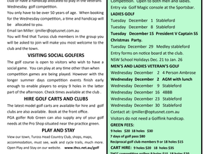 Tuross Golf News