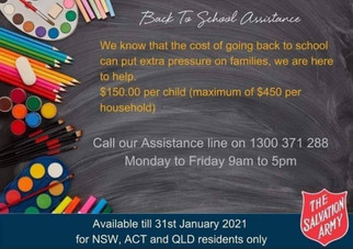Salvation Army Back To School Assistance