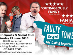 Faulty Towers comes to the Tomakin Social Club June 22nd