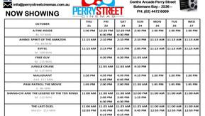 Perry Street Cinema program Oct 21st to 27th
