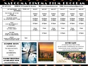 Narooma Kinema program sept 24th to 30th