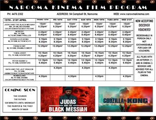 Narooma Kinema program Apr 15th to 21st