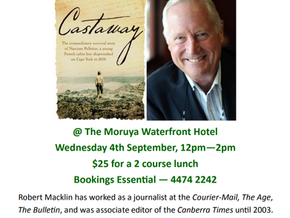 Moruya Books literary lunch: Robert Macklin Sept 4th