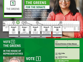 Greens reveal Eden Monaro preferences