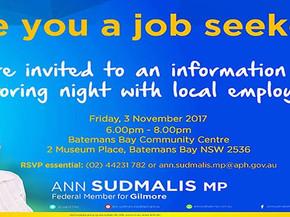 Batemans Bay job seeker information and mentoring night - Nov 3rd