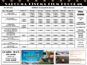 Narooma Kinema program Apr 1st to 7th
