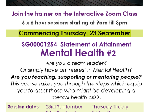 Introduction to Mental Health - starts Sept 23rd