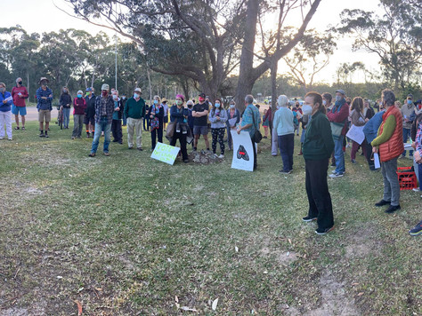 Broulee Community gather to protest Council intent to sell off community land for development
