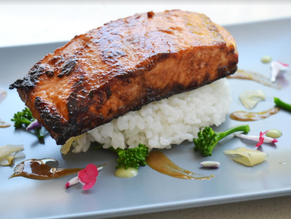 Miso and Ginger Glazed Atlantic Salmon with Japanese Sticky Rice - from Ian Faust