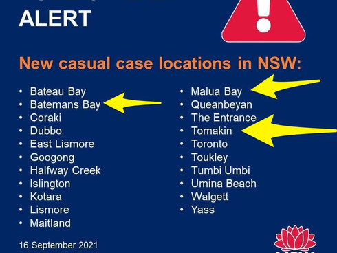 New Venues of Concern in Batemans Bay