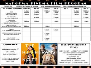Narooma Kinema program Oct 29th to Sep 4th