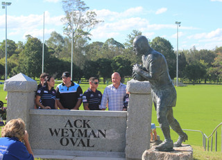 Unveiling of the statues at Ack Weyman Oval.