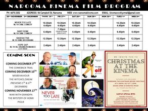 Narooma Kinema program Nov 26th to Dec 2nd