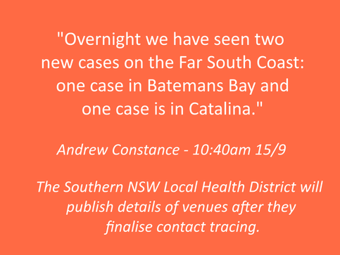 NOW 6 CASES in Batemans Bay - Sept 15th