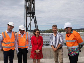The new Batemans Bay Bridge over the Clyde River will open to two lanes of traffic in late March